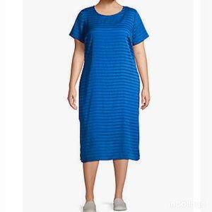 NWT Vince Camuto Shift Sheer Royal blue Dress 1X